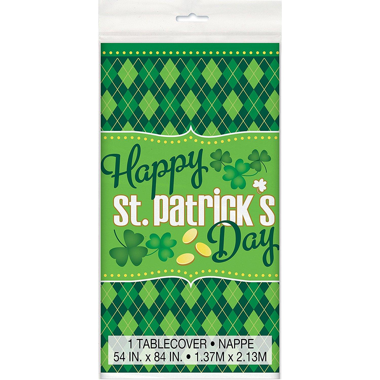 "Plastic Argyle St. Patrick's Day Table Cover, 84"" x 54"""