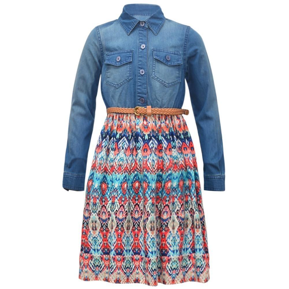 Bonnie Jean Girls Blue Denim Upper Braided Belt Kaleidosc...