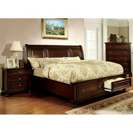 Dark Cherry Bedroom - Furniture of America Caiden 2 Piece King Bedroom Set in Dark Cherry