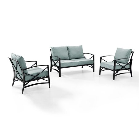 Crosley Furniture Kaplan 3 Pc Outdoor Seating Set With Mist Cushion - Loveseat, Two Outdoor Chairs ()