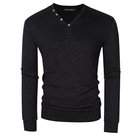 Yong Horse Men's Textured Slim Fit Long Sleeve V Neck Casual Henley Shirt with 4-Button (Fits 45 Mm Neck)