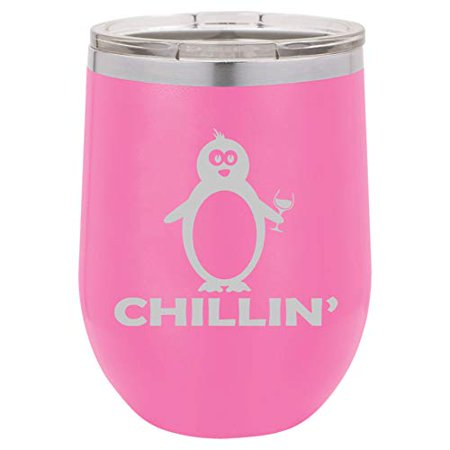 12 oz Double Wall Vacuum Insulated Stainless Steel Stemless Wine Tumbler Glass Coffee Travel Mug With Lid Funny Penguin Chillin (Hot Pink) (Funny Coffee Travel Mugs)