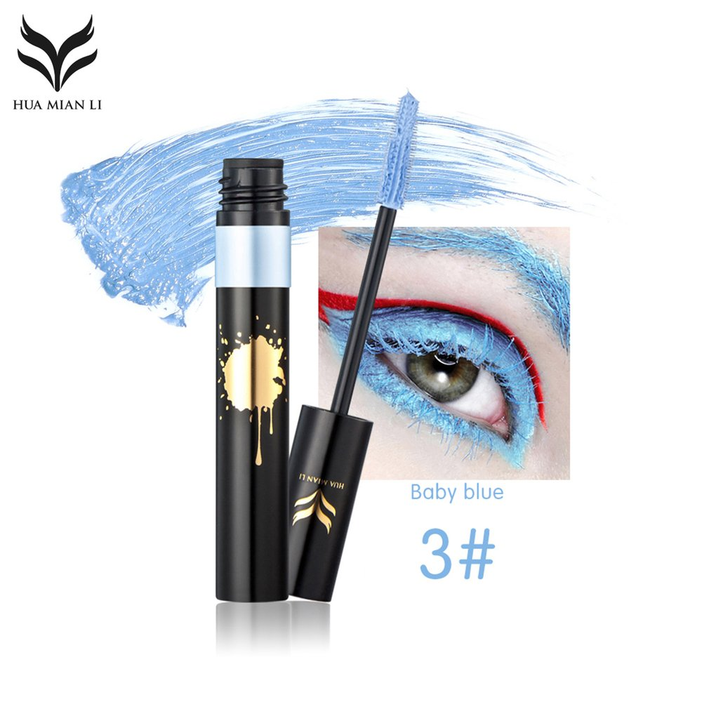 HUAMIANLI Waterproof Colorful Eye Makeup Lengthening Thick Curly Mascara Tool