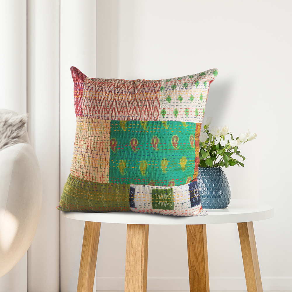 """Handmade New Year Gift Cotton Kantha Home Decor Cushion Bed Pillow Cover 16x16/"""""""