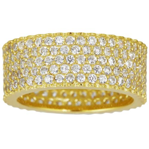 Decadence Sterling Silver Cubic Zirconia 5-row Micropave Eternity Ring Yellow, Size(7)