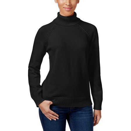 Karen Scott Womens Petites Ribbed Trim Knit Turtleneck Sweater Black PXL