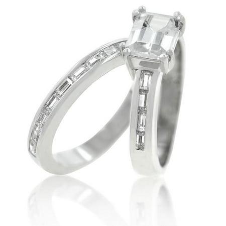 Rhodium Plated Prong Set Baguette Cut Wedding Set Ring Size 10 (2.41ct)