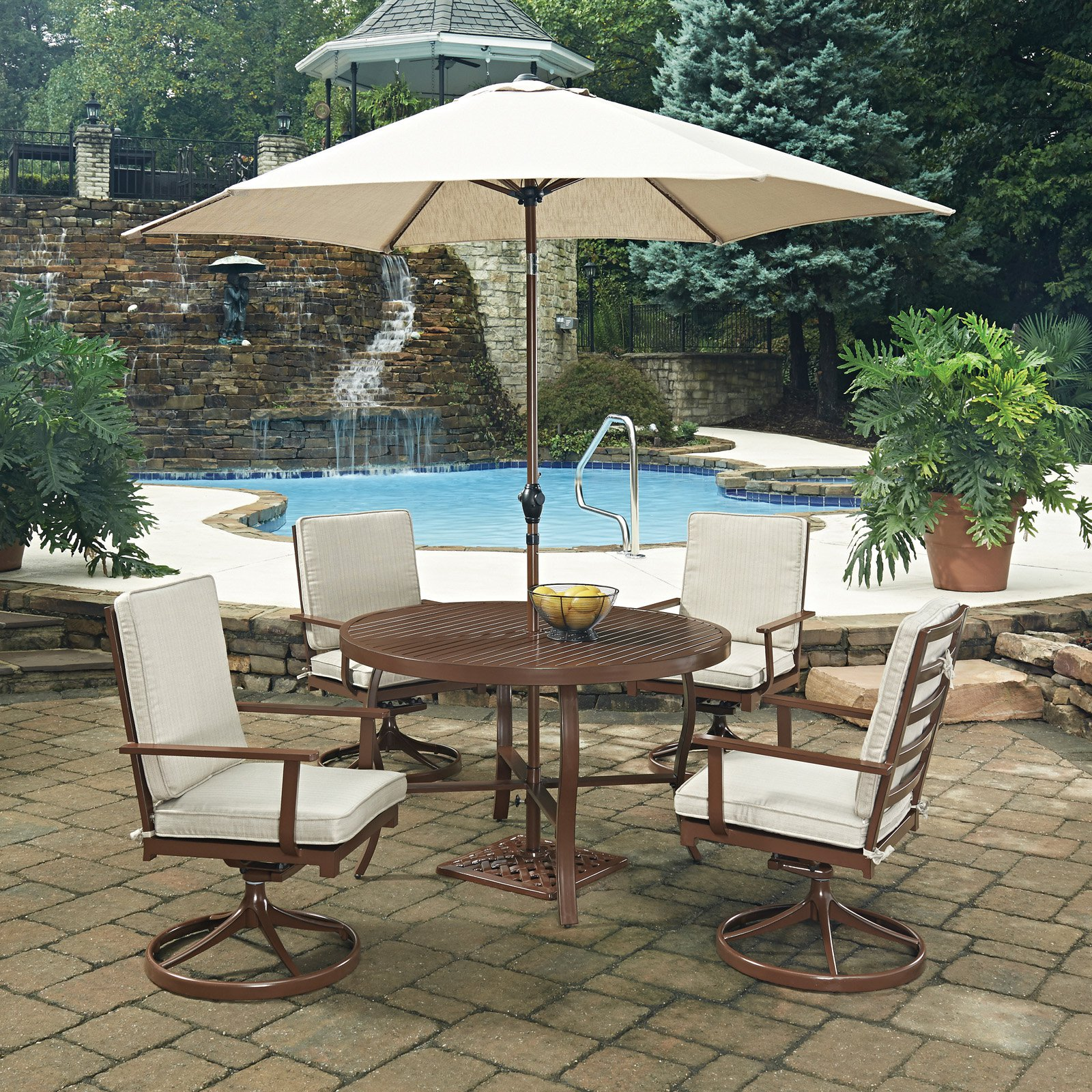 Key West  7 Pc. Round Outdoor Dining Table& 4 Swivel Rocking Chairs, with Umbrella & Base
