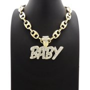 """Hip Hop Fashion Icy Bling Word BABY Pendant with Clear Stone Studs and 14K Gold Tone plated 12mm Stone Iced 18"""" Marina Chain"""
