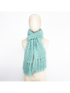 Women's Soft Acrylic Neat Light Blue Knitted Tassel Design Neck Warmer Scarf