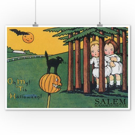 Salem, Massachusetts - Halloween Kids & Black Cat - Vintage Postcard (9x12 Art Print, Wall Decor Travel Poster)](Ebay Postcards Vintage Halloween)