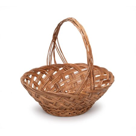 Coco Basket (Mid Rib Basket with Handle: Oval, Coco, 13.5 x 11 inches)