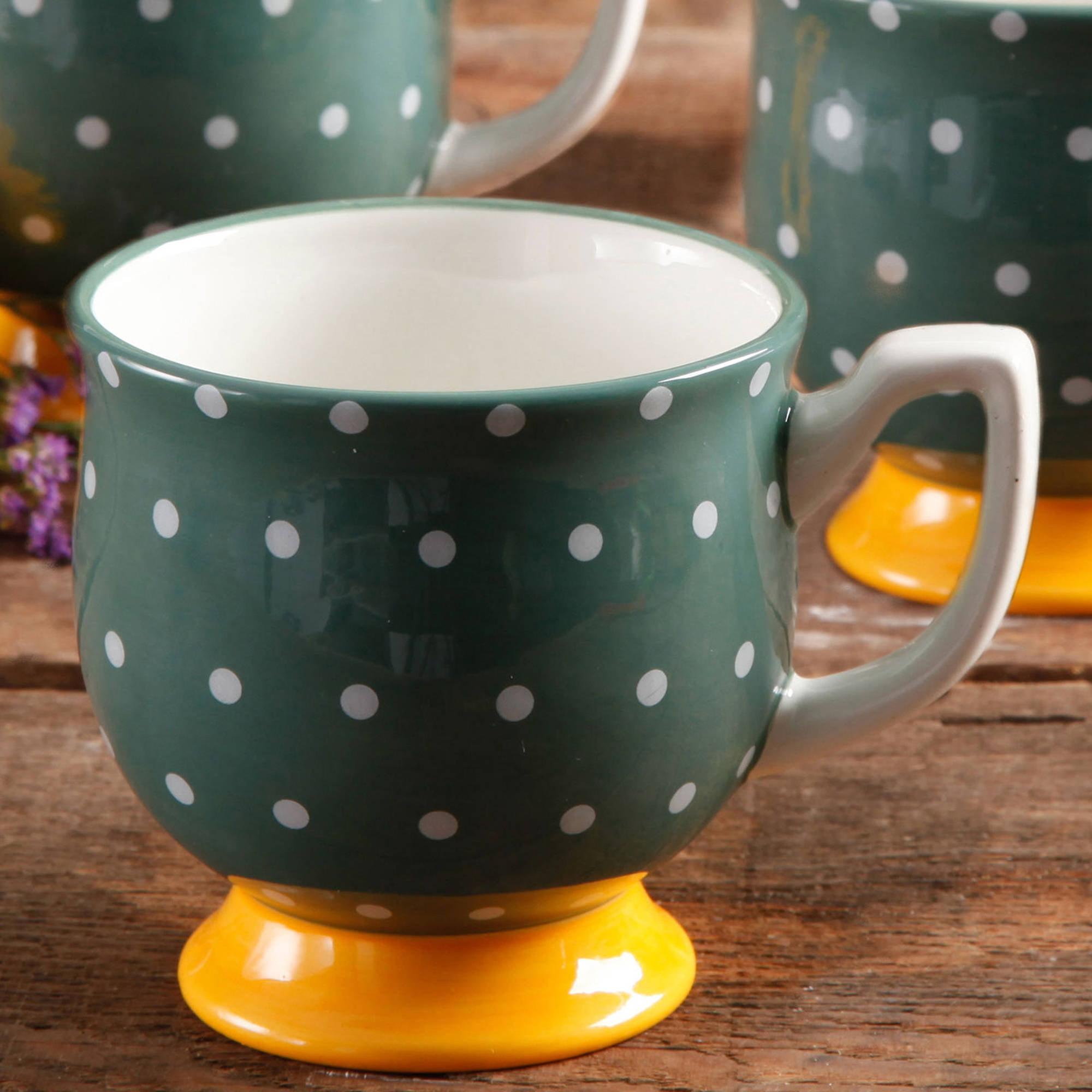 The Pioneer Woman Flea Market Green Dots Footed Mug
