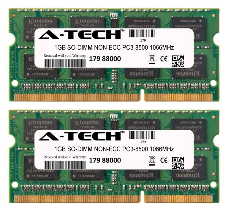 2GB Kit 2x 1GB Modules PC3-8500 1066MHz NON-ECC DDR3 SO-DIMM Laptop 204-pin Memory Ram