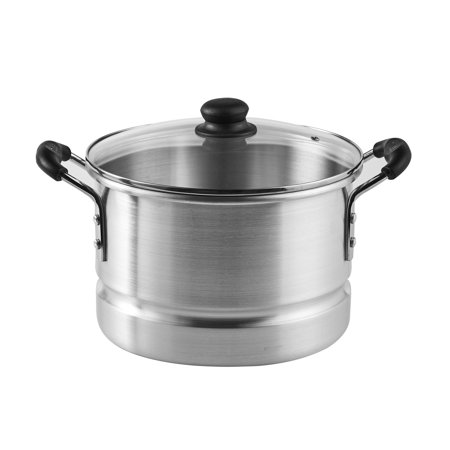 IMUSA USA 10 Quart Aluminum Steamer with Glass Lid/Steam Vent and Removable Rack, (Imusa 8 Piece Espresso Set With Rack)