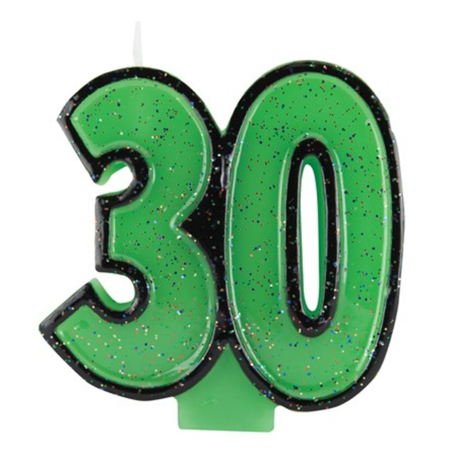 Club Pack of 12 Bold Glitter and Lime Green Molded Numeral 30 Party Candles 3.5""