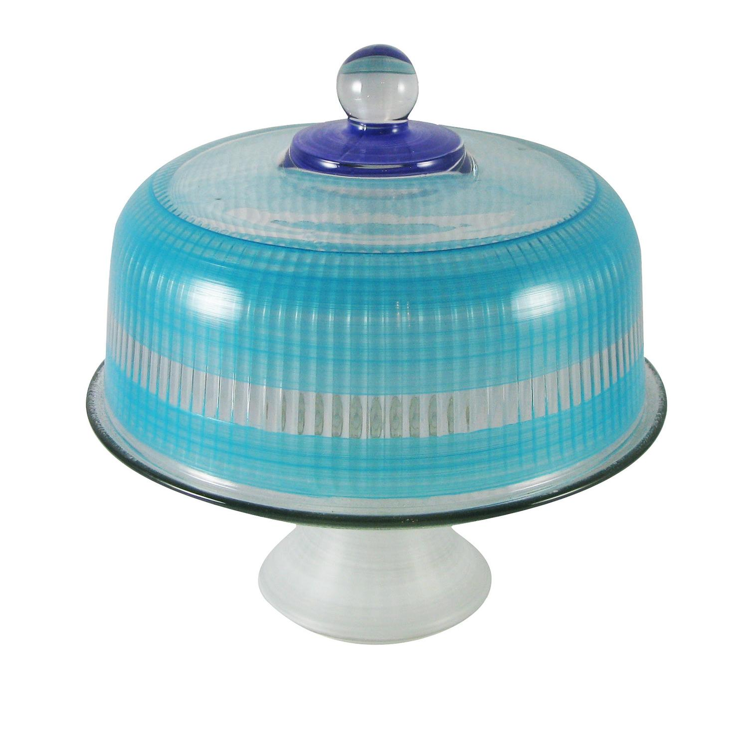 Turquoise Retro Stripe Hand Painted Glass Convertible Cake Dome 11""