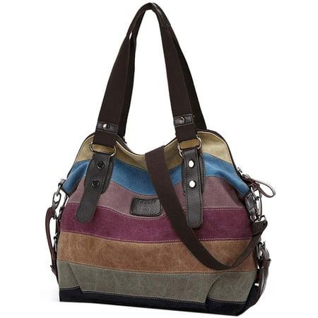 Woven Hobo Handbag - Handbags for Women, Multicolor Stripe Leisure Canvas Shoulder Bag Cross Body Bag Tote Handbags for Women Ladies