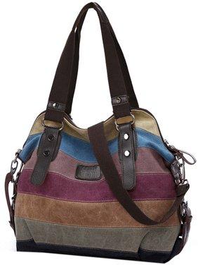 Handbags for Women, Coofit Multicolor Stripe Leisure Canvas Shoulder Bag  Cross Body Bag Tote Handbags