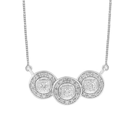Sterling Silver 1/4 CTTW Diamond 3 Circle Necklace