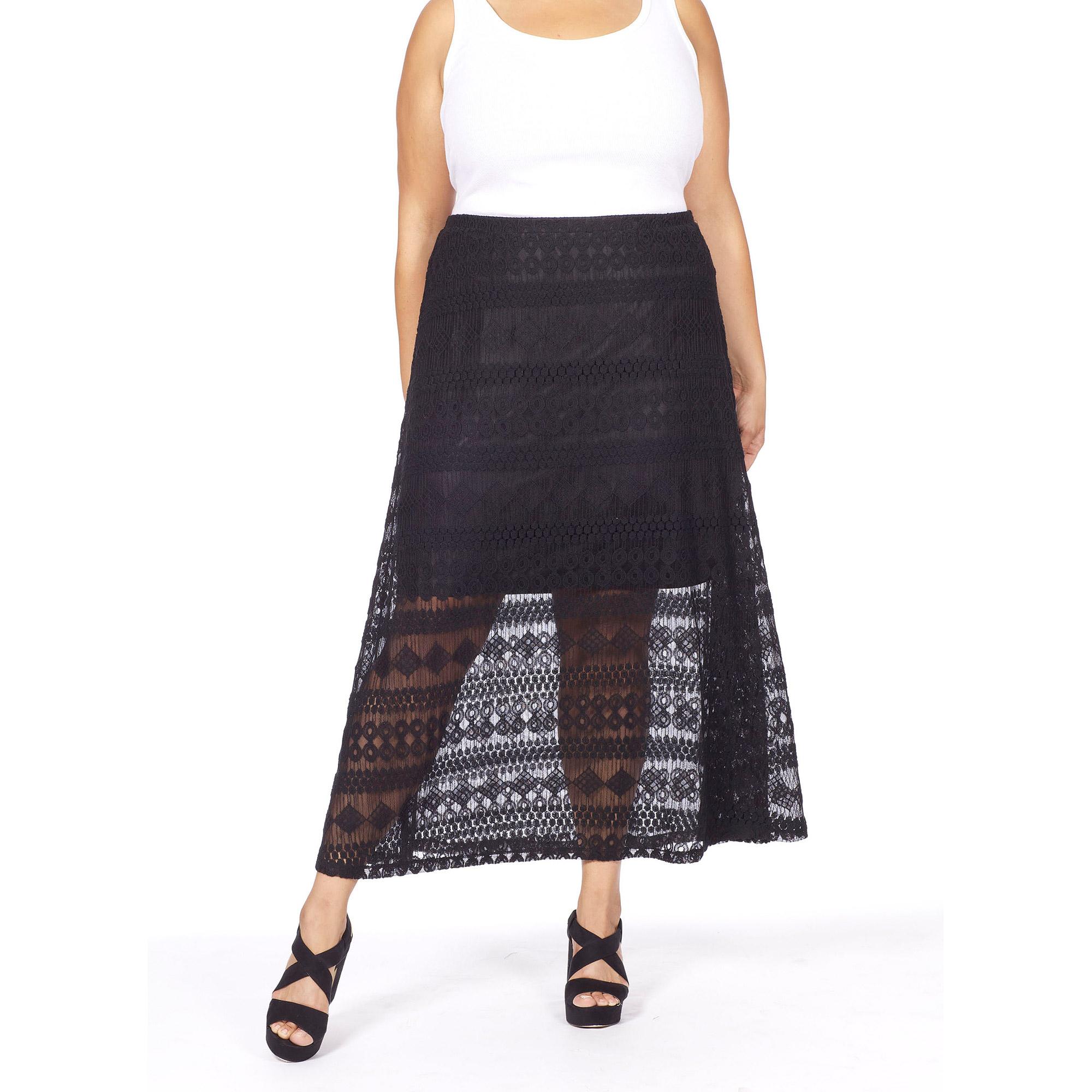 plus moda s plus size animal lace maxi skirt