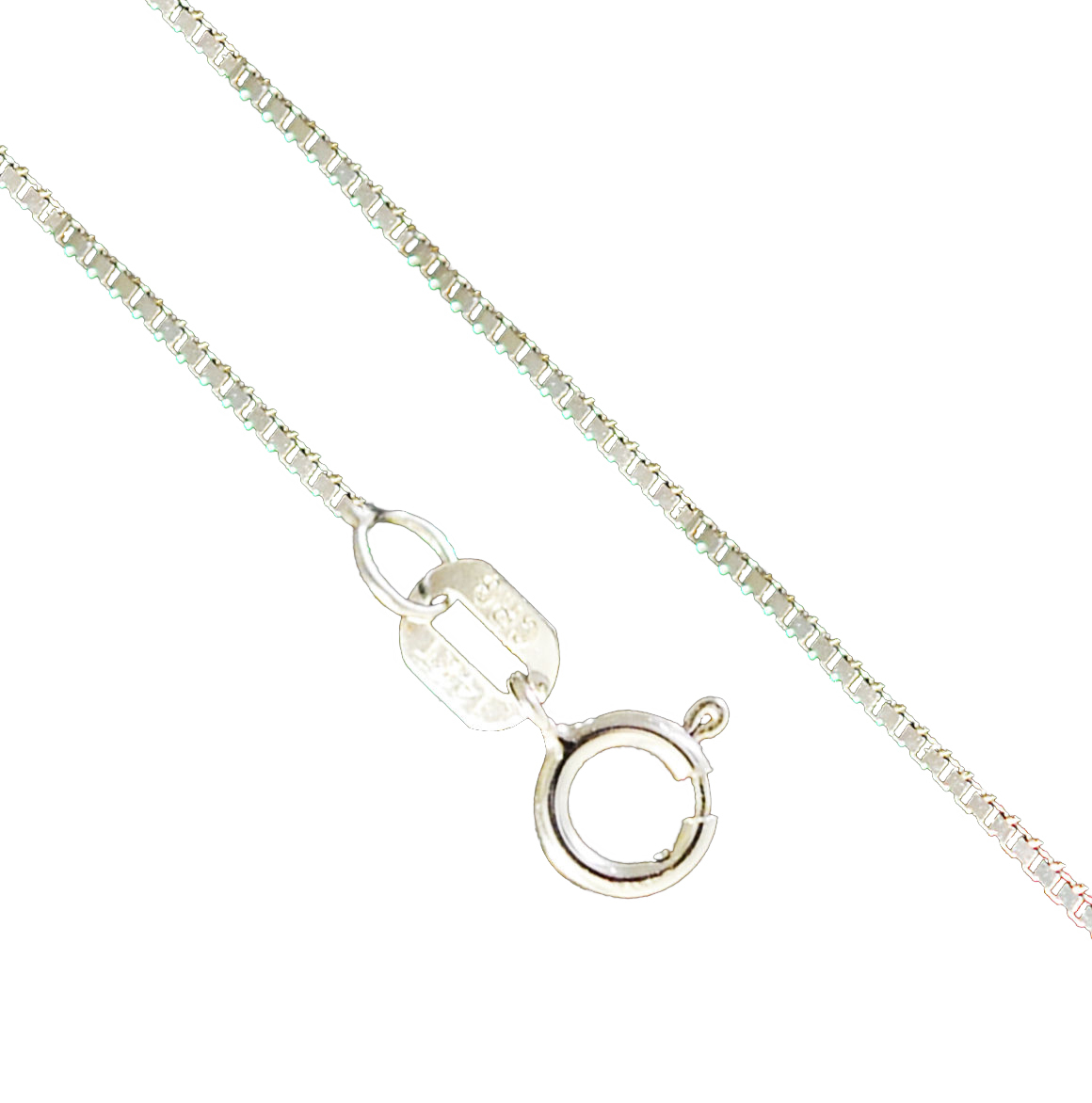 14K White Gold 0.8mm Box Necklace Link Spring Clasp (16 Inches)