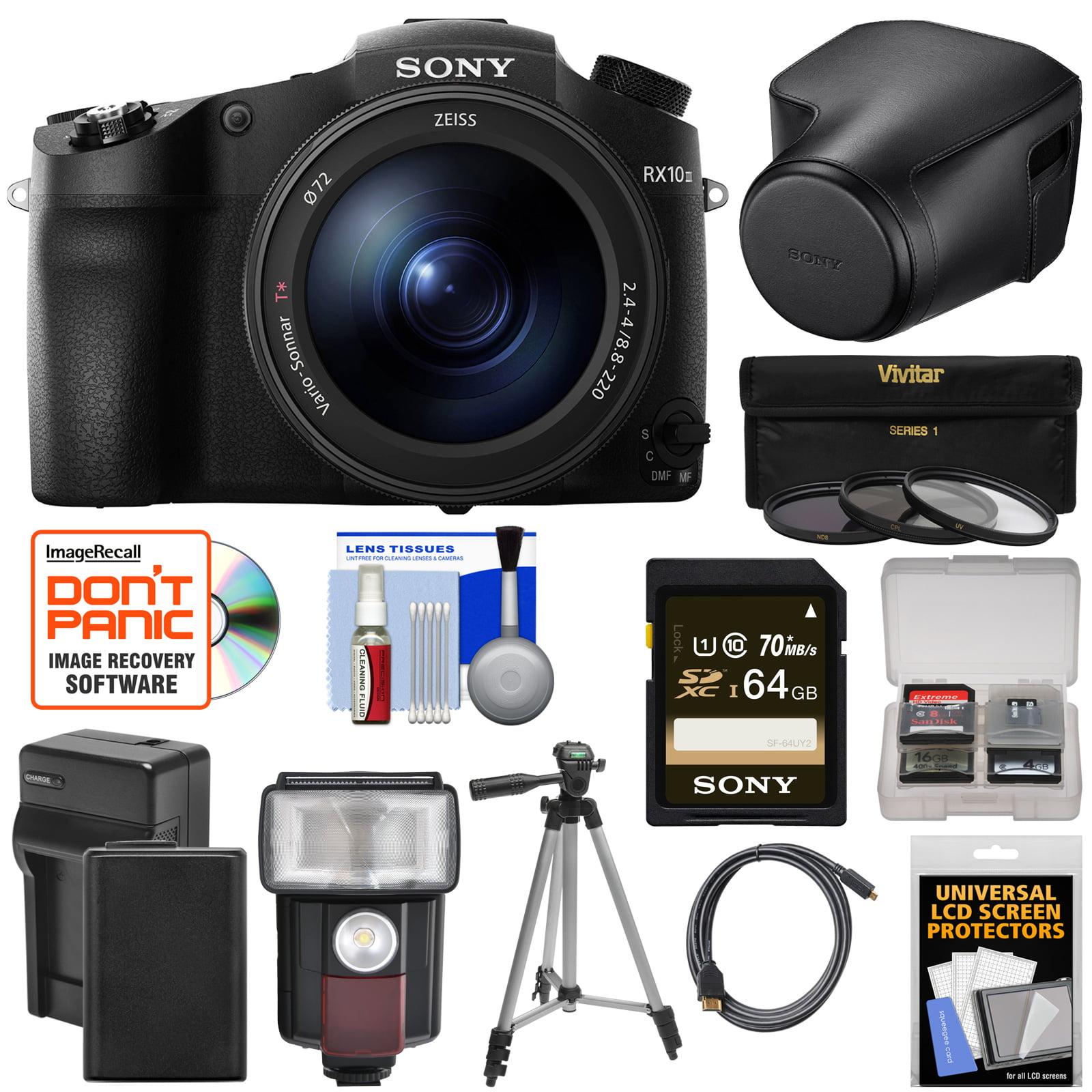 Sony Cyber-Shot DSC-RX10 III 4K Wi-Fi Digital Camera with LCJ-RXJ Leather Case + 64GB Card + Battery & Charger + Flash + Filters + Tripod + Kit DSCRX10M3/B-93643-Kit