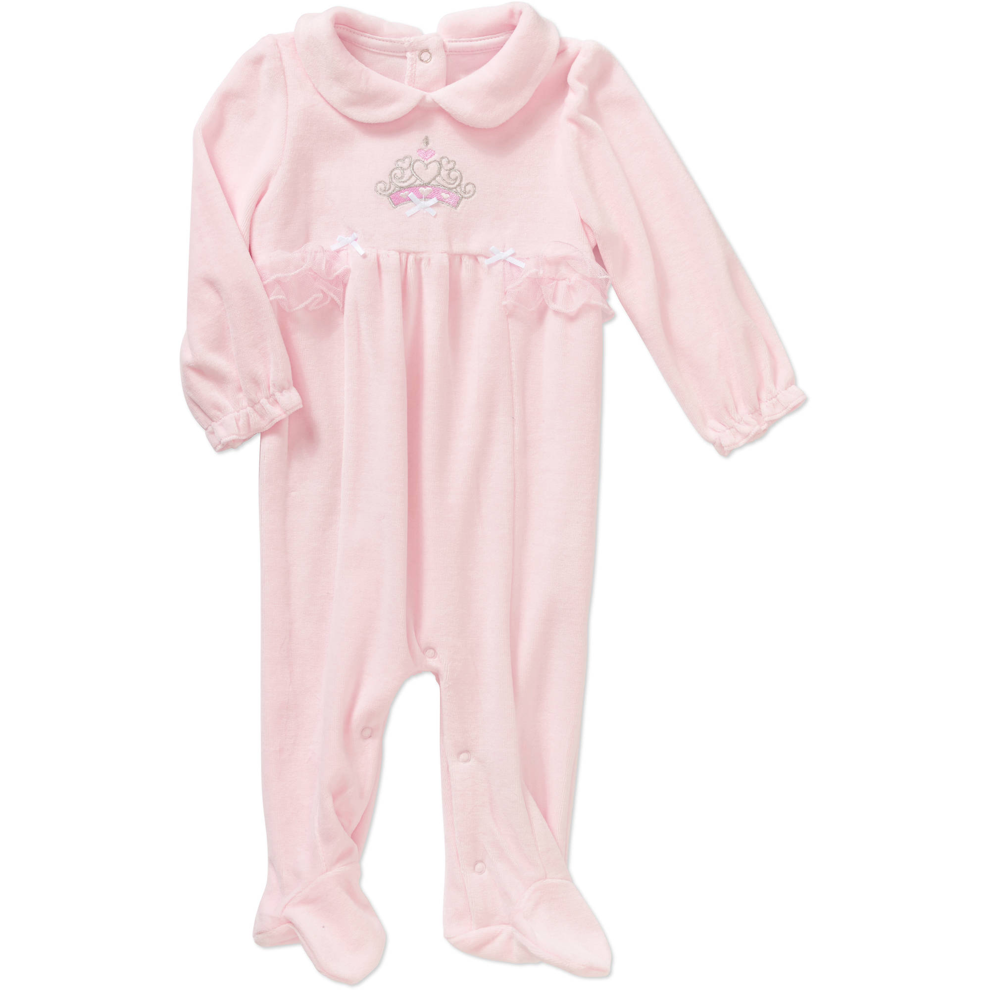 Quiltex Newborn Baby Girls' Glitter Crown Velour Footed Coverall