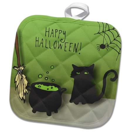 3dRose Cat Cauldron and Broom Halloween - Pot Holder, 8 by 8-inch