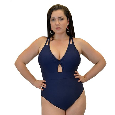 Yacht & Smith Plus Size Womens Swimsuit, Fashion One Piece Bathing Suit Tank (Navy,