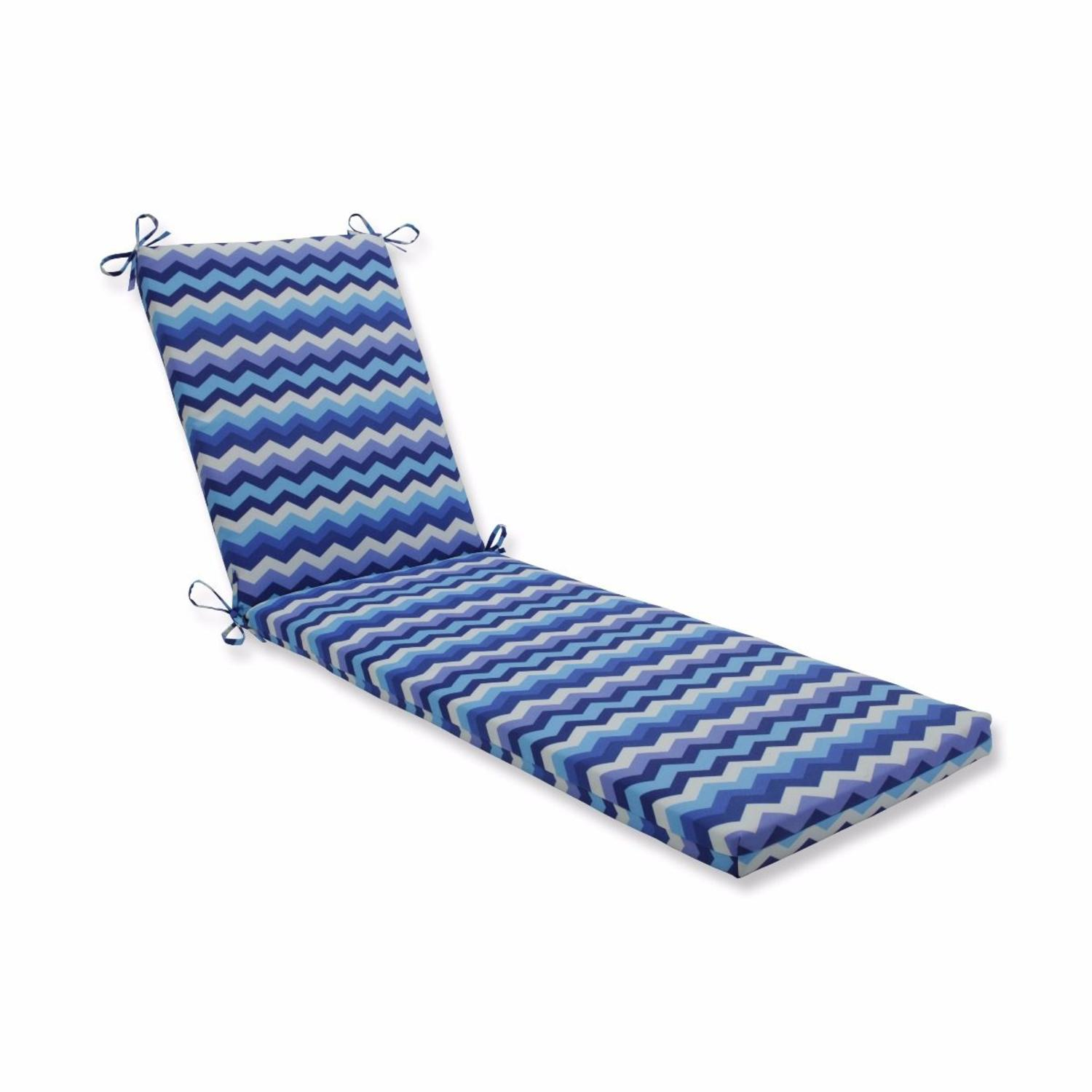 "80"" Blue UV/Fade Resistant Outdoor Patio Chaise Lounge Cushion with Ties"