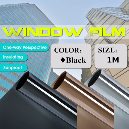 """One Way Privacy Window Tint Solar Reflective Film Office Home Roll Black/Tea Silver/Grey Silver 20""""X3.3FT"""