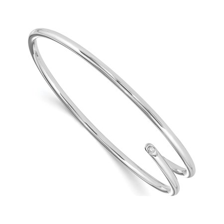 925 Sterling Silver White Ice Diamond Bangle - image 3 of 4
