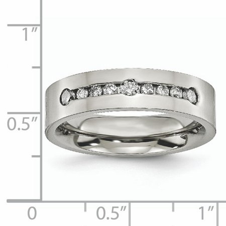 Titanium Polished 1/2 ct tw. Diamond 6mm Band Ring 11.5 Size - image 1 de 7