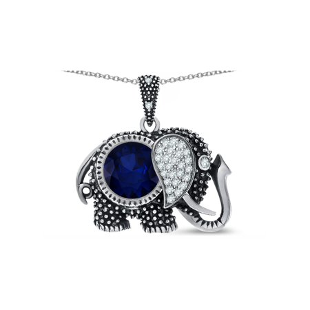 Star K Round 10mm Simulated Sapphire Good Luck Elephant Pendant Necklace in Sterling (Stars Around Sapphire)