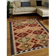 Rugsotic Carpets Hand Woven Flat Weave Kilim Wool 6'x9' Area Rug Contemporary Multicolor D00136