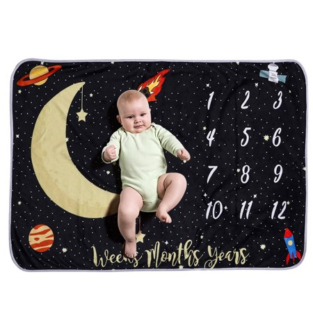 Baby Monthly Milestone Blanket For Girl Boy Flannel Night Sky Moon Stars for Babies Photo Picture Prop Background Baby Shower Gifts 40 * 28 Inch Not Wrinkle Or