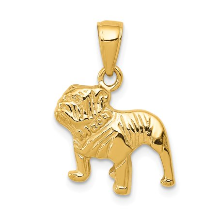 14K Yellow Gold Bulldog Pendant  21Mm X 15Mm