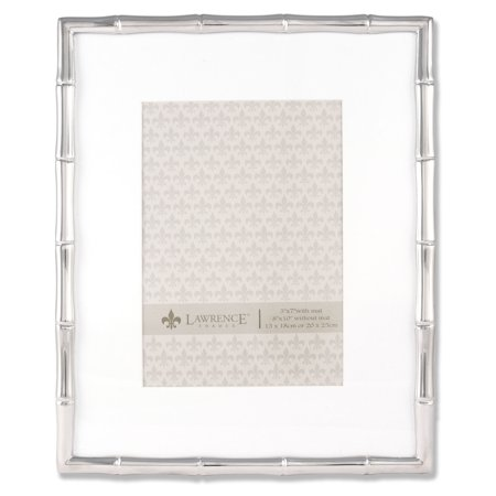 710180 Silver Metal Bamboo 8x10 Matted For 5x7 Picture Frame