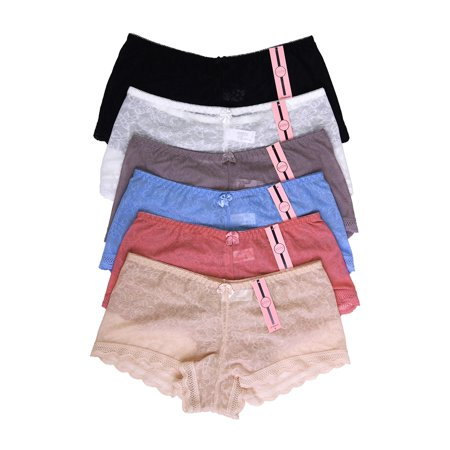 Lace Cheeky Boyshorts Panties - 6 Pack of Women Hipster Panties Floral Lace Boyshorts Cheeky Underwear Bikini