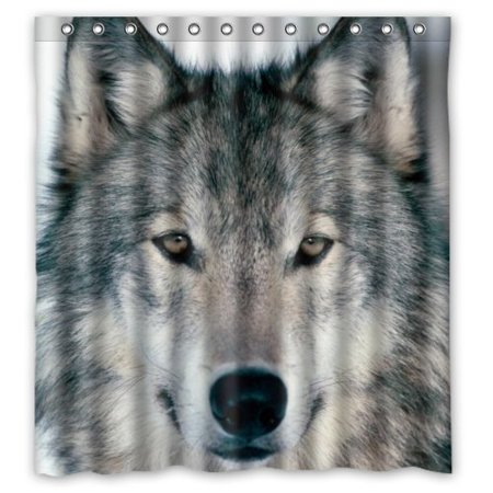 GreenDecor Wolf Wolves Waterproof Shower Curtain Set With Hooks Bathroom Accessories Size 66x72 Inches