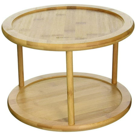 Greenco Premium Bamboo 2 Tier Lazy Susan Turntable ()