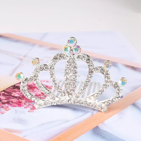 HiCoup Kid Girls Sparkling Rhinestone Crown Birthday Party Hair Comb Tiara Decor - Tiara Gifts