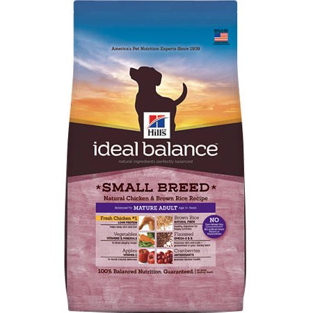 Hill's Ideal Balance Mature Adult Small Breed Natural Chicken & Brown Rice Recipe Dry Dog Food, 4 lb bag