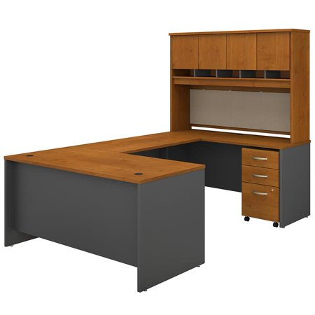 Series C 60W U Desk with Hutch and Drawers in Natural Cherry - Engineered Wood