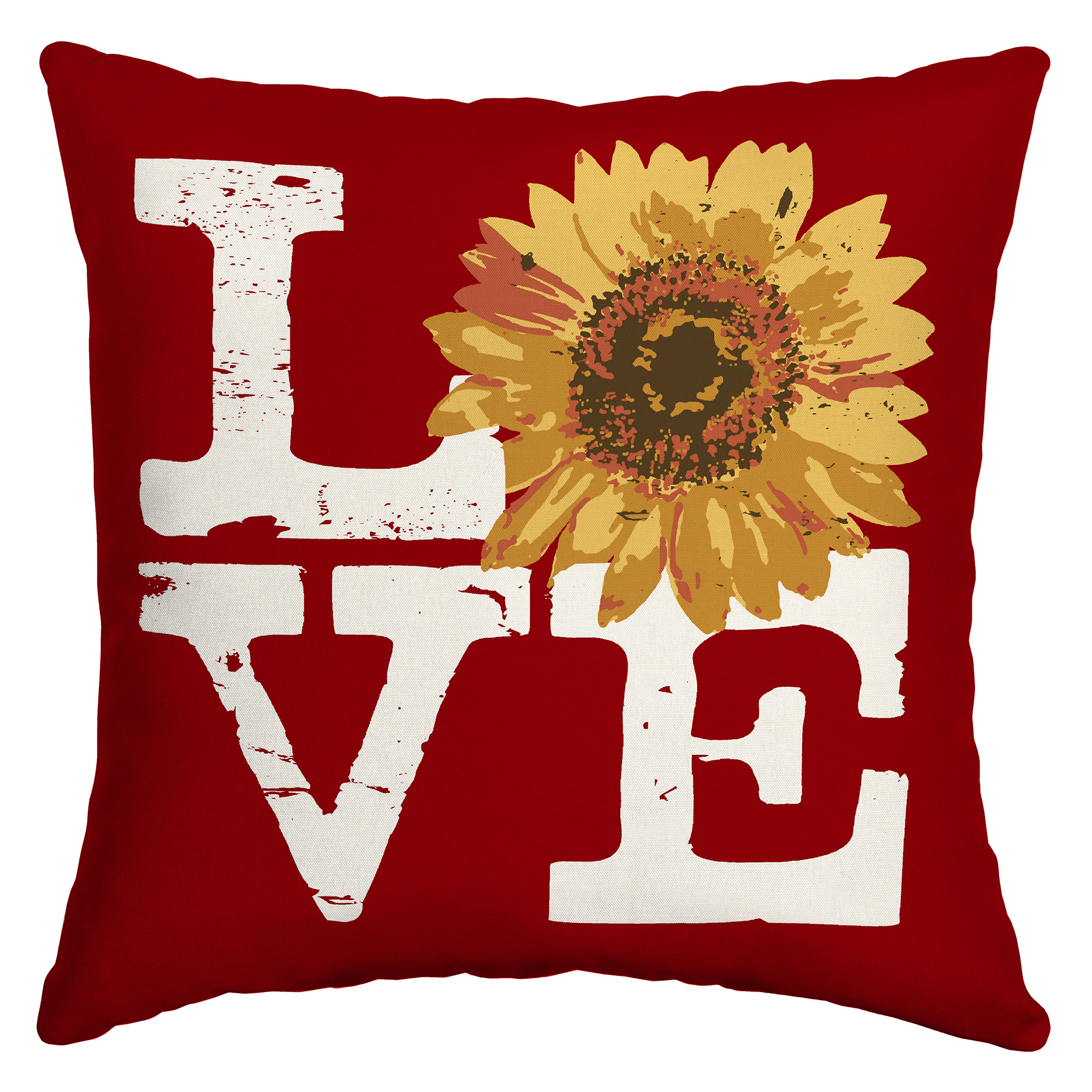 Mainstays 16 inch Red Love Sunflower Toss Pillow