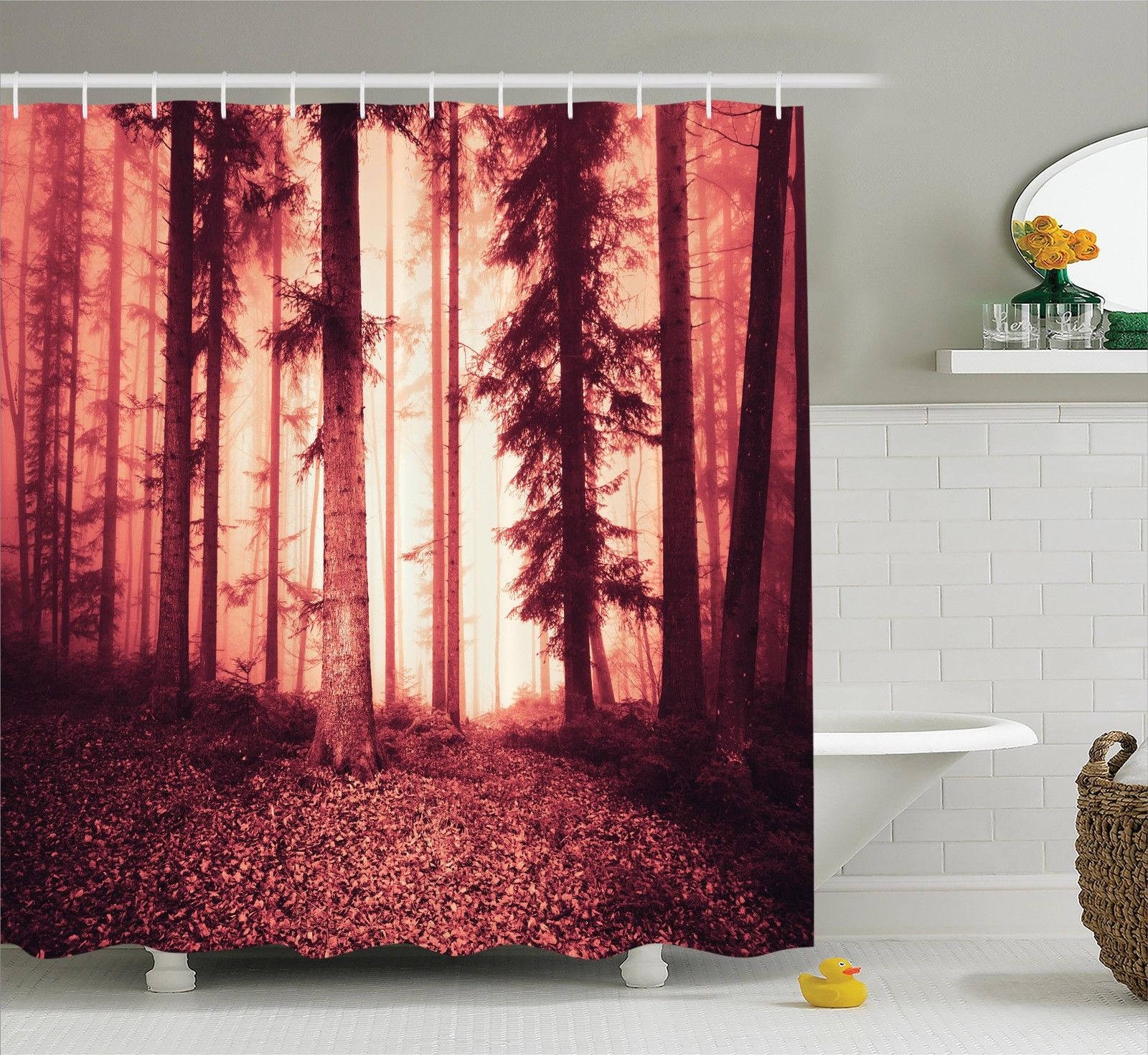 Foggy and Spooky Forest Trees Nature Twlight Fall Leaves Art Shower Curtain Set