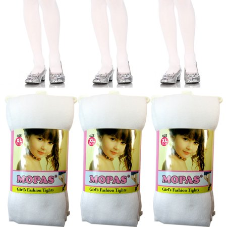 (3 Pair Girls Tights Footed Dance Stockings Pantyhose Ballet XL Size 11-14 White)