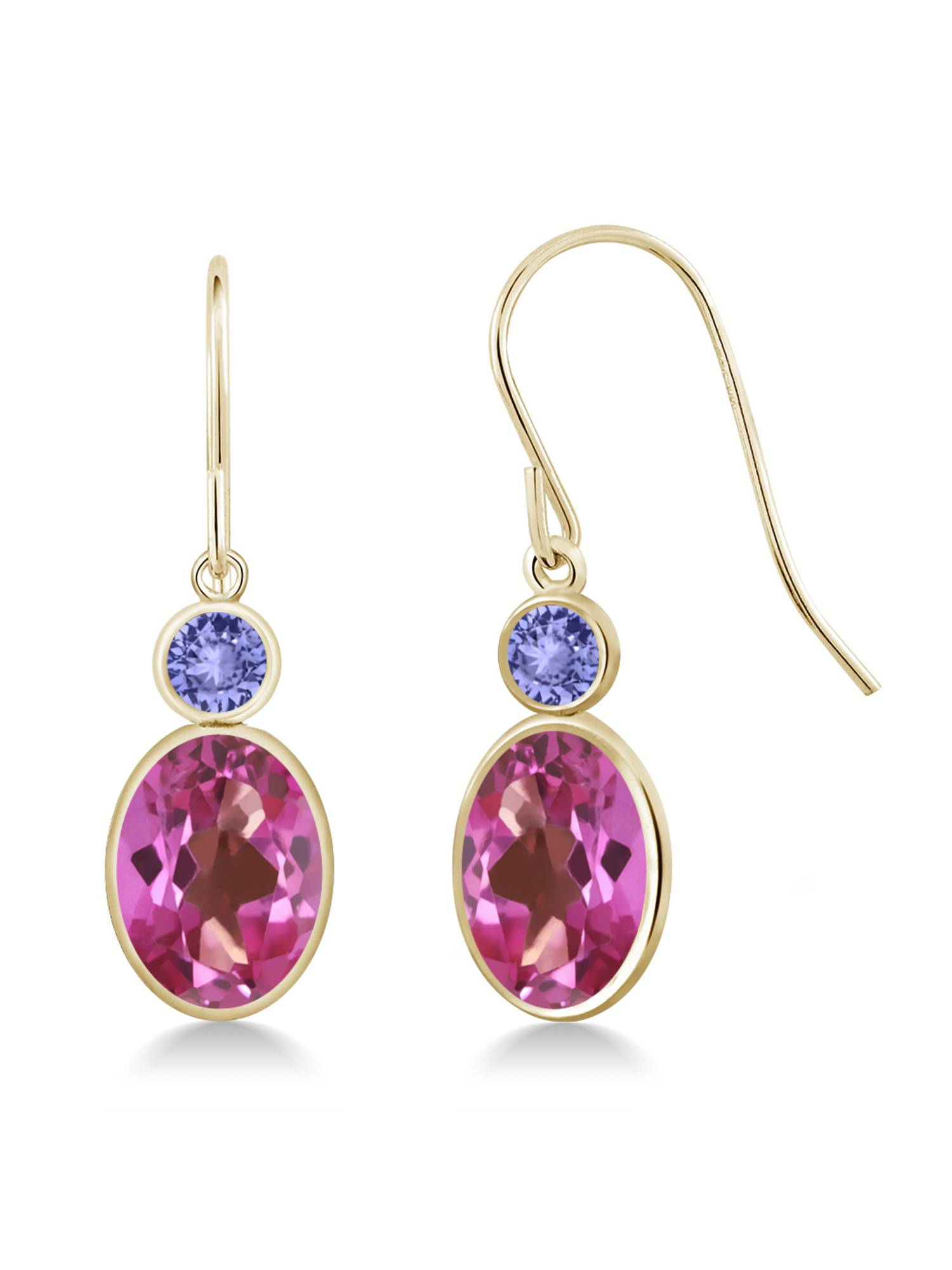 3.24 Ct Oval Pink Mystic Topaz Blue Tanzanite 14K Yellow Gold Earrings by