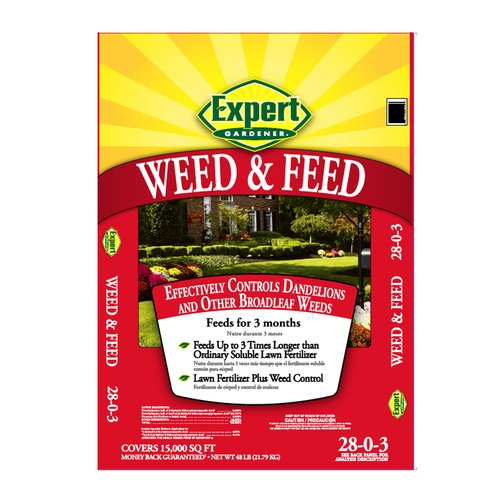 Expert Gardener 5,000 sq ft Weed & Feed Lawn Fertilizer for Northern Lawns (28-0-3), 16 lbs